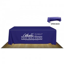 8' OPEN BACK FABRIC TABLE COVER - 1-COLOR IMPRINT
