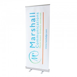 "Econoroll 31.5"" wide Retracting Banner Stand"