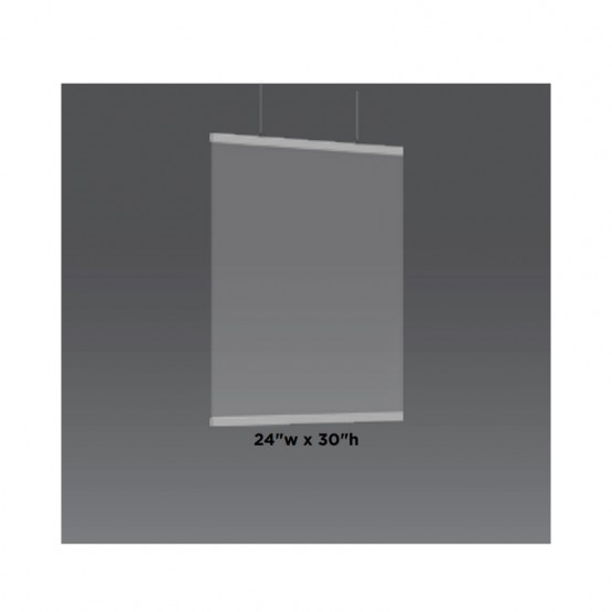 """24""""w x 30""""h Ceiling Mounted Sneeze Guard (Unprinted)"""