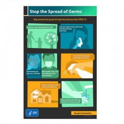 "Stop The Spread Of Germs 11"" x 17"" Metal Sign"