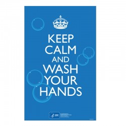 "Keep Calm Wash Your Hands 11"" x 17"" Metal Sign"