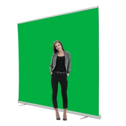 Jumbo 8ft Retracting Green Screen Banner Stand