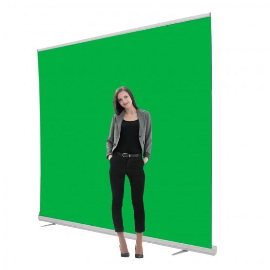 Jumbo 8ft Retracting Green Screen Banner Stand