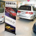 """Superb 33.5"""" wide Retracting Banner Stand"""