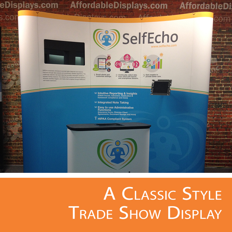We'll explain the perks on this classic style trade show display.