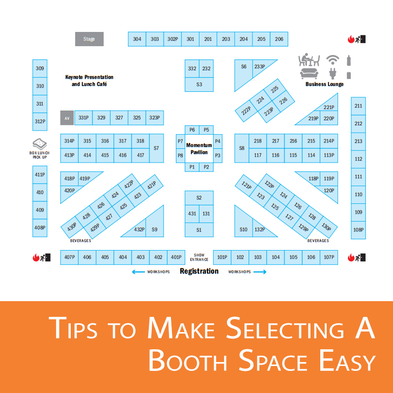 Location is key to ensuring you'll be expecting the kind of traffic flow your booth space is going to want and need.