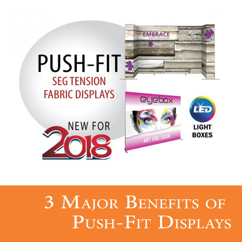 New for 2018 - Push-fit tension fabric displays