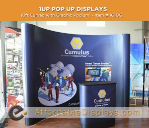 10ft curved pop up displays for trade shows includes custom graphic panels and graphic podium
