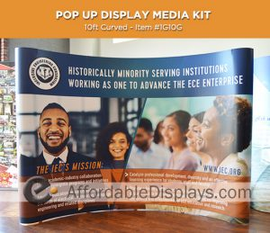 10ft curved pop up display for trade shows