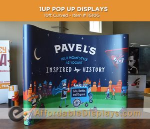 10ft curved pop up displays for trade shows includes graphic panels and wheeled shipping cases