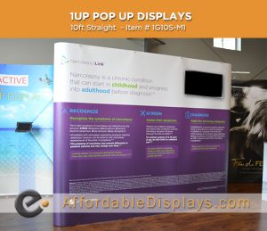 10ft straight inline media kit pop up display for trade shows includes custom graphic panels, media tv mount and wheeled shipping cases