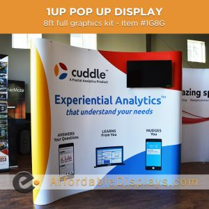 8ft curved media kit pop up display for trade shows includes custom graphic panels, media tv mount and wheeled shipping cases