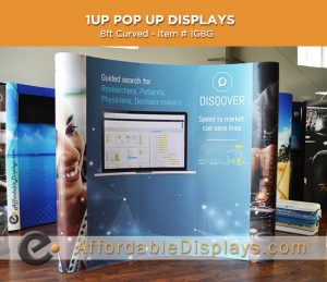 8ft curved pop up displays for trade shows includes custom graphic panels and wheeled shipping cases
