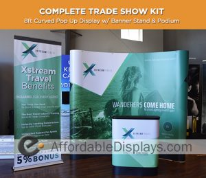 8ft curved pop up display for trade shows includes custom graphic panels, roll up banner stand and graphic podium