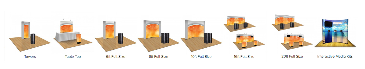 1UP Pop-Up Displays - Table Top, 6ft, 8ft, 10ft, 16ft, 20ft