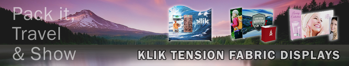 KLIK Magnetic Tension Fabric Displays by Affordable Exhibit Displays