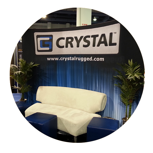 Tension fabric display for Crystal Group by AffordableDisplays.com