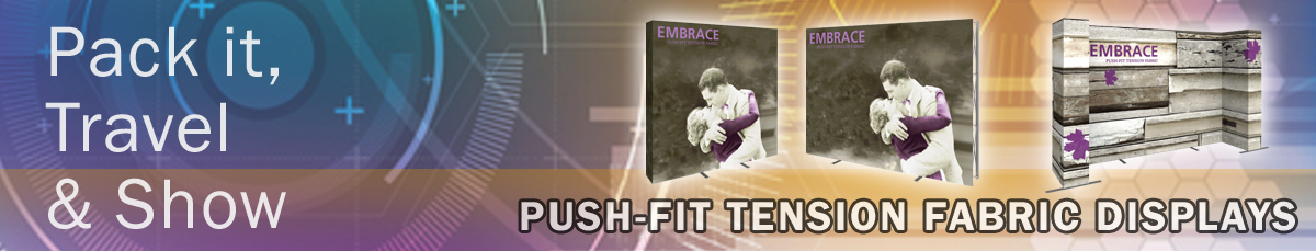 Embrace Push-Fit Tension Fabric Trade Show Displays by Affordable Exhibit Displays