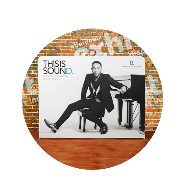 John Legend and Polk Audio tension fabric display by Affordable Displays