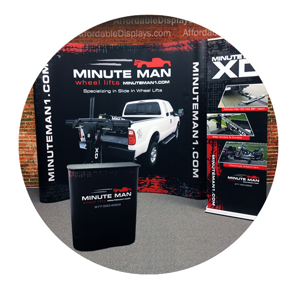 8ft pop up display with banner stand by Affordabledisplays.com