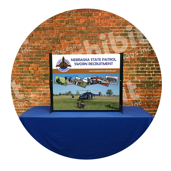 Nebraska State Patrol table top banner stand by Affordable Displays