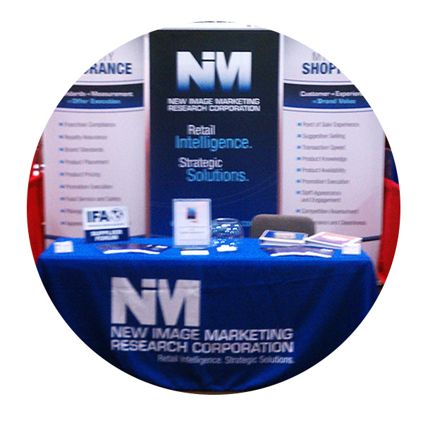 New Image Marketing Research Corporation banner stands by Affordable Displays