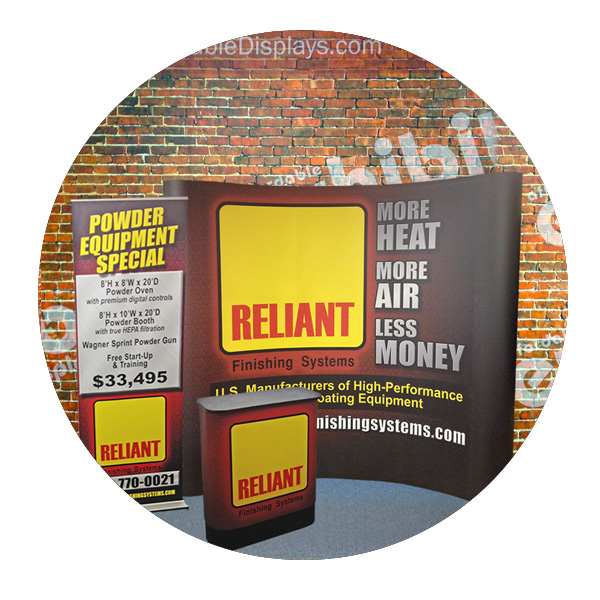 Reliant Finishing pop up display by Affordable Displays
