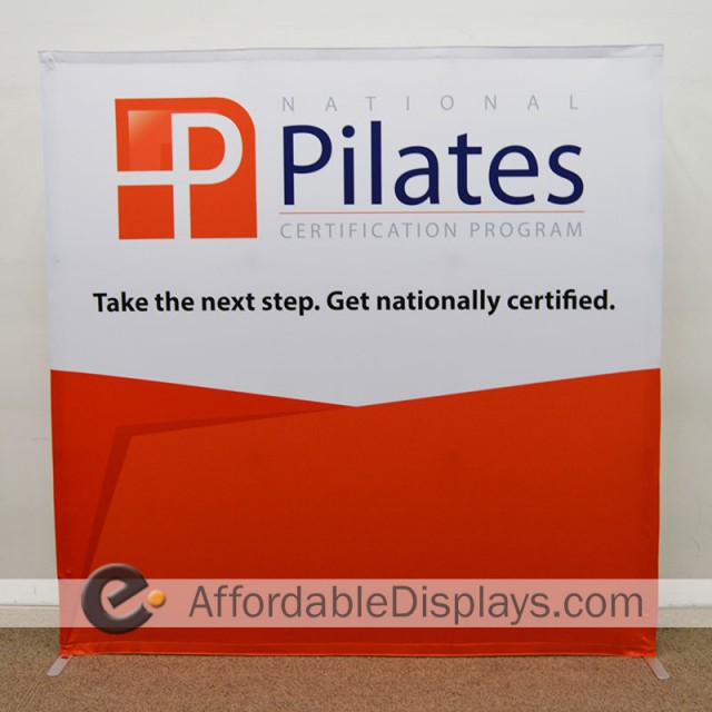 8ft Straight Star Tension Fabric Display - National Pilates Certification Program